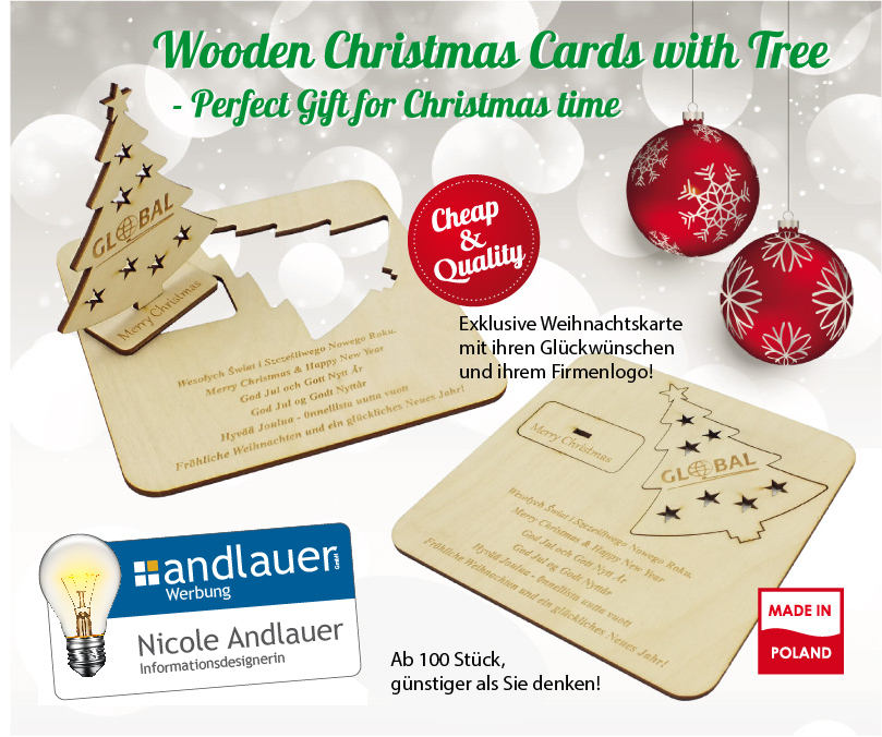 Holz Weihnachtskarten.Andlauer Autoservice Ettenheim Lackiererei Werbung